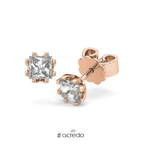 Ohrstecker in Rotgold 585 mit 2x 0,5 ct. Prinzess-Diamant tw, vs von acredo
