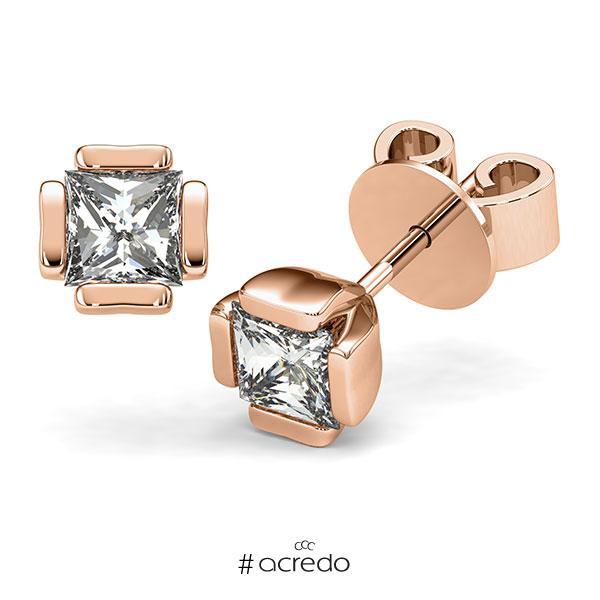 Ohrstecker in Rotgold 585 mit 2x 1 ct. Prinzess-Diamant tw, vs von acredo