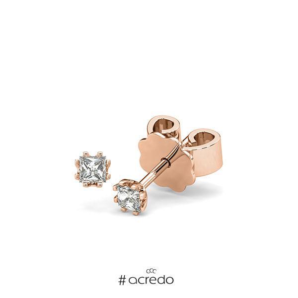 Ohrstecker in Rotgold 585 mit zus. 0,2 ct. Prinzess-Diamant tw, vs von acredo