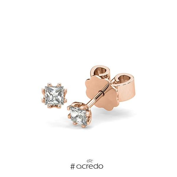 Ohrstecker in Rotgold 585 mit zus. 0,3 ct. Prinzess-Diamant tw, vs von acredo