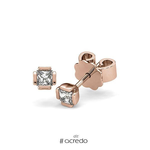 Ohrstecker in Rotgold 585 mit zus. 0,4 ct. Prinzess-Diamant tw, si von acredo