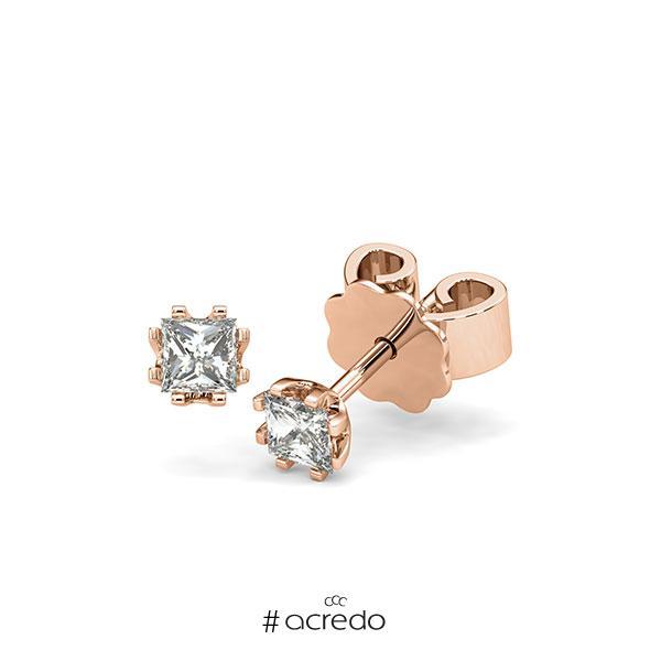 Ohrstecker in Rotgold 585 mit zus. 0,4 ct. Prinzess-Diamant tw, vs von acredo