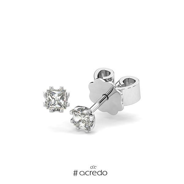 Ohrstecker in Weißgold 585 mit zus. 0,3 ct. Prinzess-Diamant tw, vs von acredo