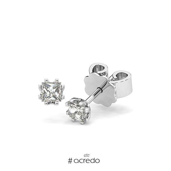 Ohrstecker in Weißgold 585 mit zus. 0,4 ct. Prinzess-Diamant tw, vs von acredo