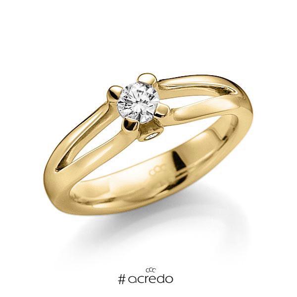 Verlobungsring in Gelbgold 585 mit 0,3 ct. beidseitiger seitlicher Brillantbesatz 2x 0,015ct Brillant tw, vs tw, si von acredo