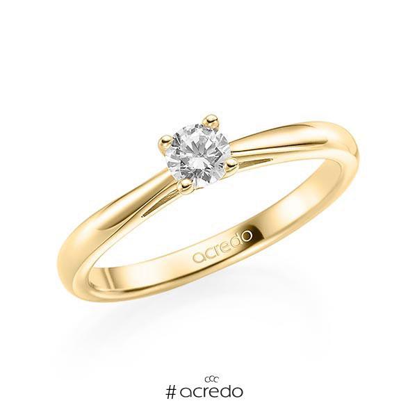 Verlobungsring in Gelbgold 585 mit 0,3 ct. Brillant tw, vs von acredo