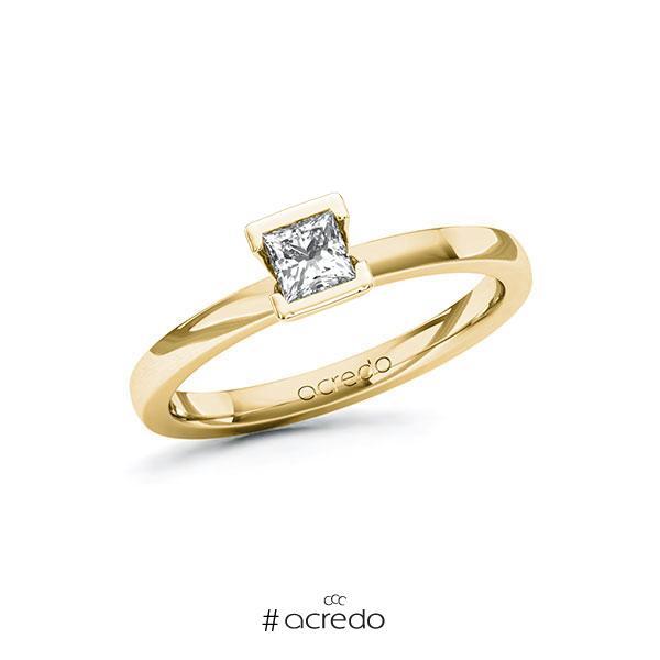 Verlobungsring in Gelbgold 585 mit 0,3 ct. Prinzess-Diamant tw, vs von acredo