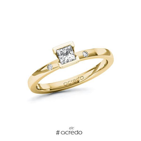 Verlobungsring in Gelbgold 585 mit 0,3 ct. + zus. 0,02 ct. Prinzess-Diamant tw, vs tw, si von acredo