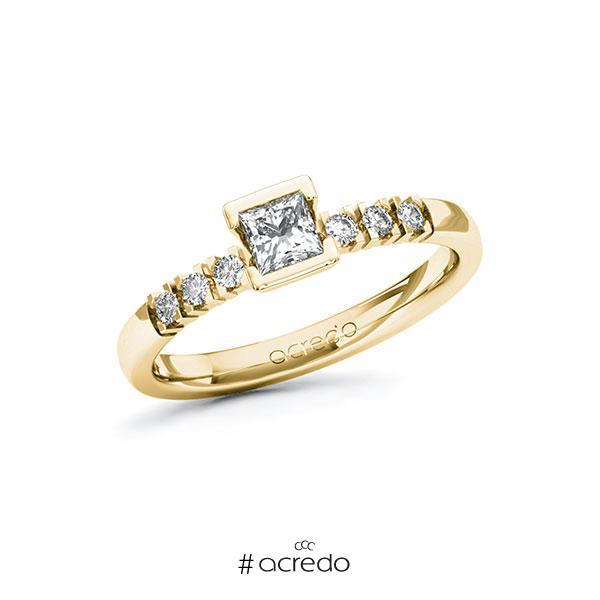 Verlobungsring in Gelbgold 585 mit 0,3 ct. + zus. 0,12 ct. Prinzess-Diamant tw, vs tw, si von acredo