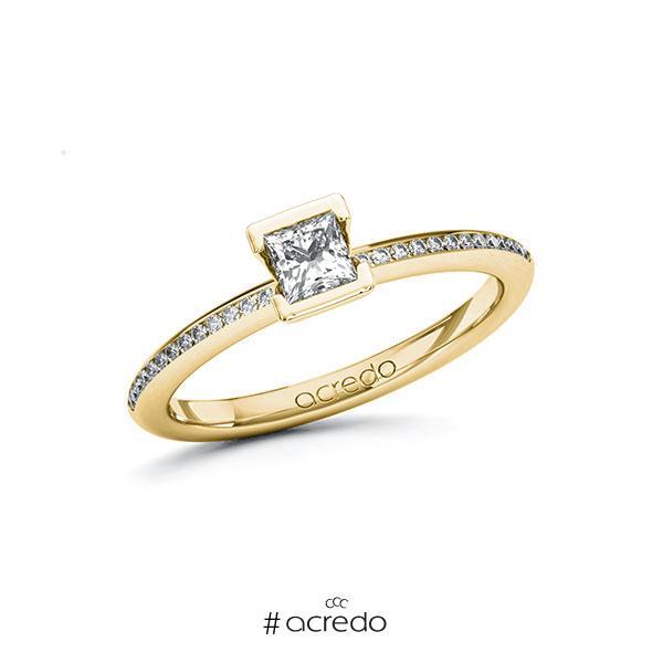 Verlobungsring in Gelbgold 585 mit 0,3 ct. + zus. 0,13 ct. Prinzess-Diamant tw, vs tw, si von acredo