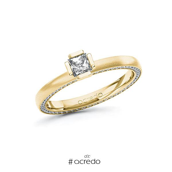 Verlobungsring in Gelbgold 585 mit 0,3 ct. + zus. 0,29 ct. Prinzess-Diamant tw, vs tw, si von acredo