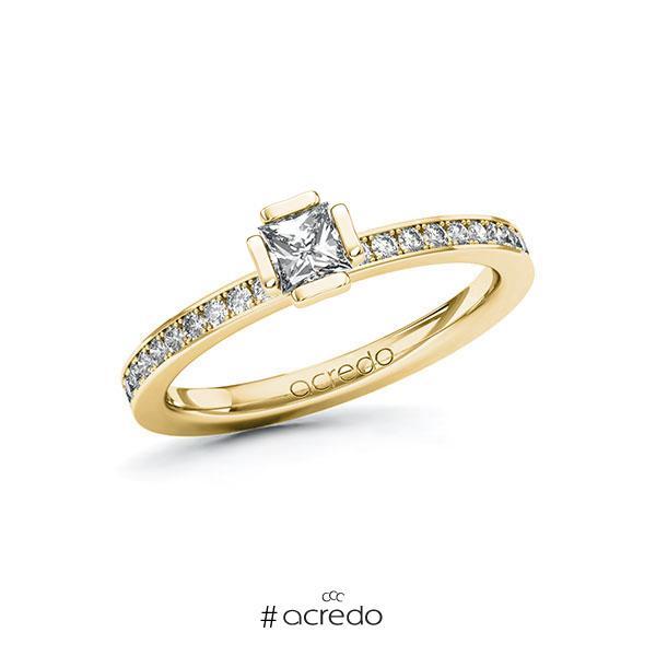 Verlobungsring in Gelbgold 585 mit 0,3 ct. + zus. 0,2 ct. Prinzess-Diamant tw, vs tw, si von acredo