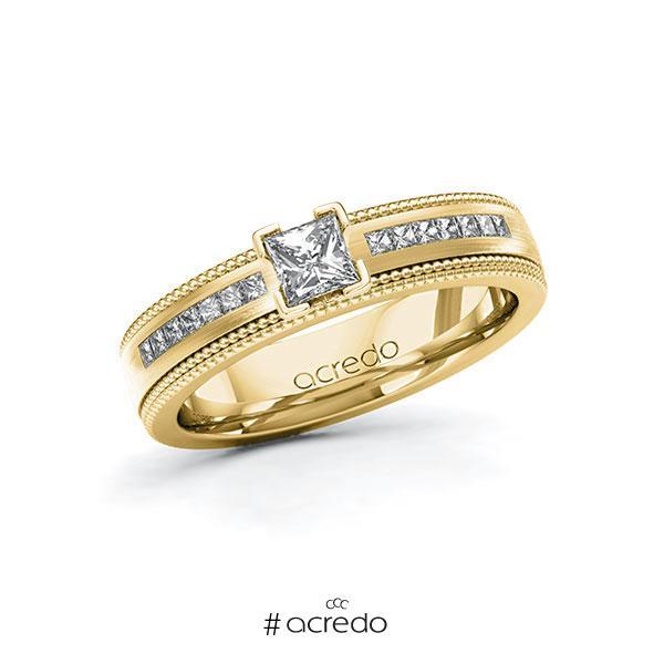 Verlobungsring in Gelbgold 585 mit 0,3 ct. + zus. 0,42 ct. Prinzess-Diamant tw, vs tw, si von acredo
