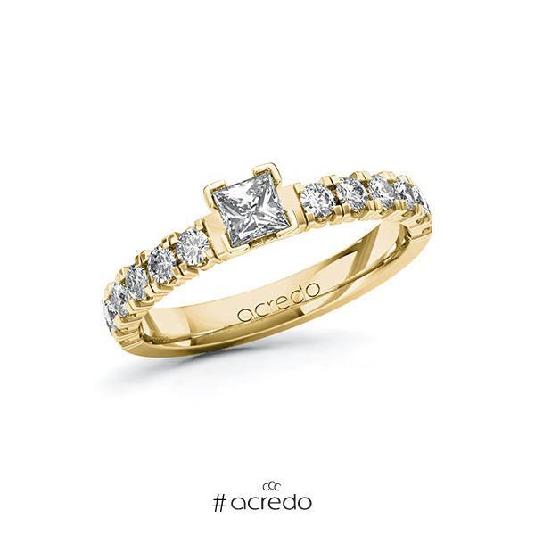 Verlobungsring in Gelbgold 585 mit 0,3 ct. + zus. 0,48 ct. Prinzess-Diamant tw, vs tw, si von acredo