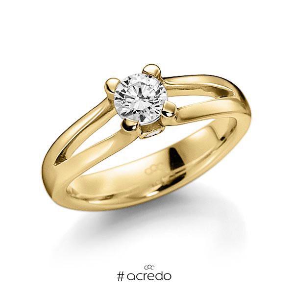 Verlobungsring in Gelbgold 585 mit 0,4 ct. beidseitiger seitlicher Brillantbesatz 2x 0,025ct Brillant tw, vs tw, si von acredo