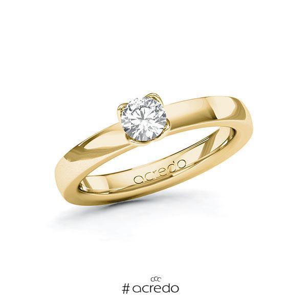 Verlobungsring in Gelbgold 585 mit 0,4 ct. Brillant tw, si von acredo