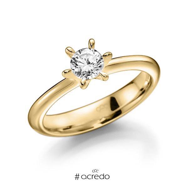 Verlobungsring in Gelbgold 585 mit 0,4 ct. Brillant tw, vs von acredo