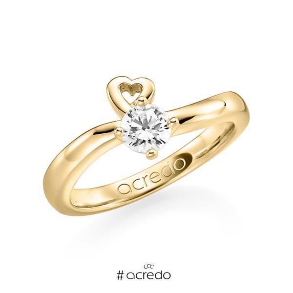 Verlobungsring in Gelbgold 585 mit 0,4 ct. Brillant w, si von acredo