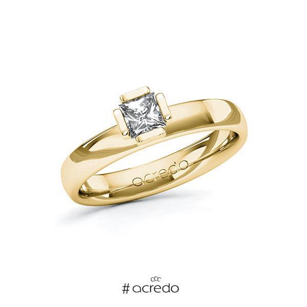 Verlobungsring in Gelbgold 585 mit 0,4 ct. Prinzess-Diamant tw, vs von acredo