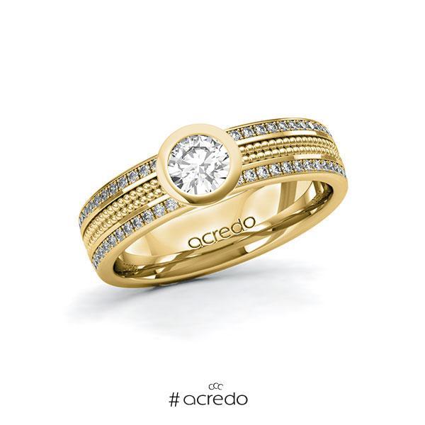 Verlobungsring in Gelbgold 585 mit 0,4 ct. + zus. 0,29 ct. Brillant tw, si von acredo