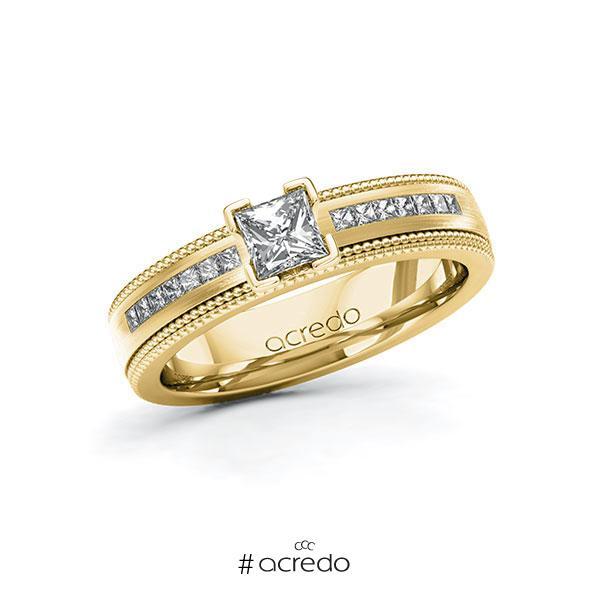 Verlobungsring in Gelbgold 585 mit 0,4 ct. + zus. 0,42 ct. Prinzess-Diamant tw, vs tw, si von acredo