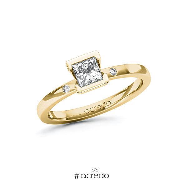 Verlobungsring in Gelbgold 585 mit 0,5 ct. + zus. 0,02 ct. Prinzess-Diamant tw, vs tw, si von acredo