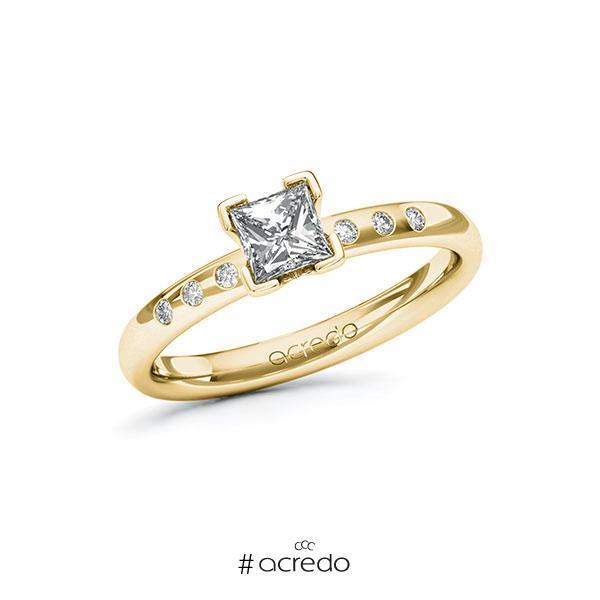 Verlobungsring in Gelbgold 585 mit 0,5 ct. + zus. 0,048 ct. Prinzess-Diamant tw, vs tw, si von acredo