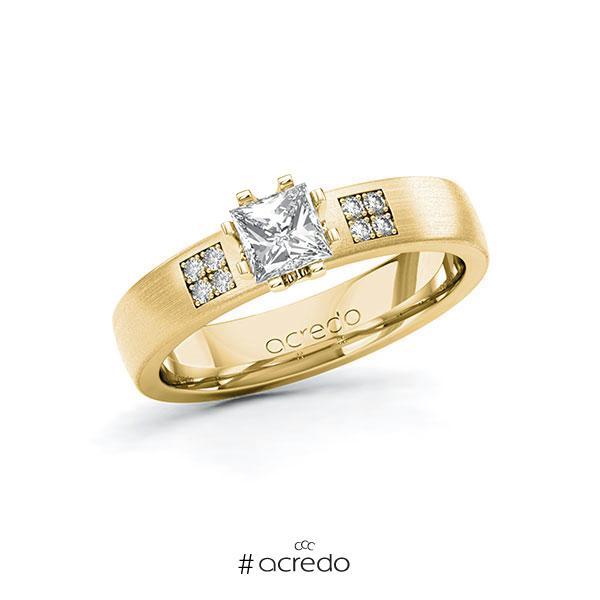 Verlobungsring in Gelbgold 585 mit 0,5 ct. + zus. 0,064 ct. Prinzess-Diamant tw, vs tw, si von acredo