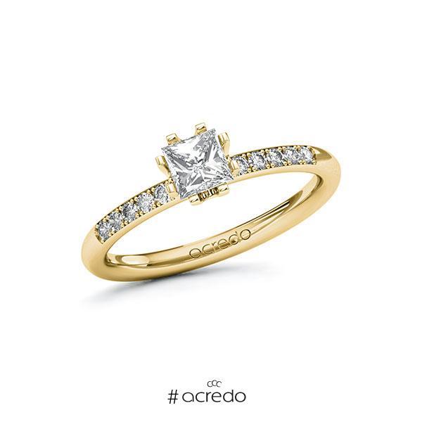 Verlobungsring in Gelbgold 585 mit 0,5 ct. + zus. 0,08 ct. Prinzess-Diamant tw, vs tw, si von acredo