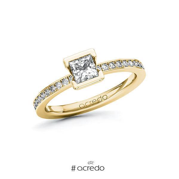 Verlobungsring in Gelbgold 585 mit 0,5 ct. + zus. 0,2 ct. Prinzess-Diamant tw, vs tw, si von acredo