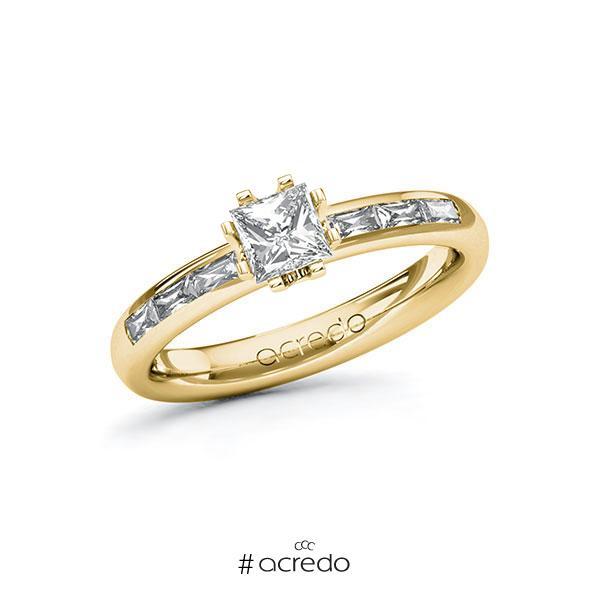Verlobungsring in Gelbgold 585 mit 0,5 ct. + zus. 0,3 ct. Prinzess-Diamant tw, vs von acredo