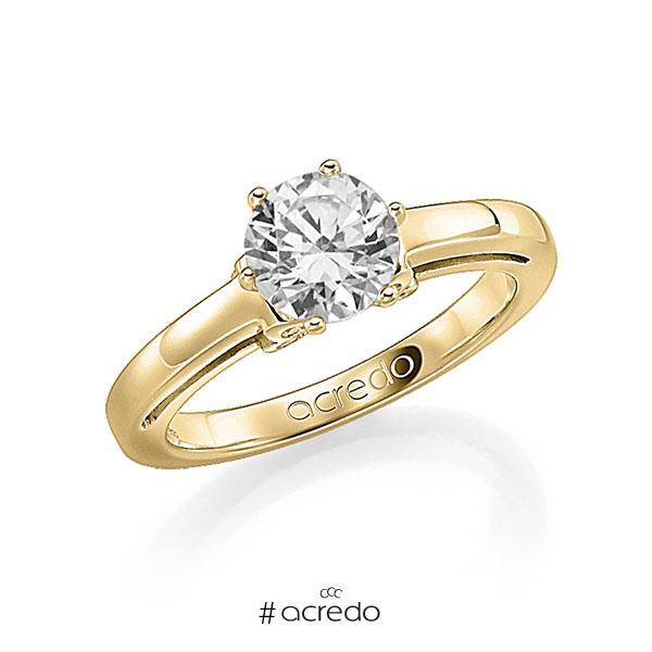 Verlobungsring in Gelbgold 585 mit 0,7 ct. 12 St. zusammen 0,06ct. Brillant w, si tw, si von acredo