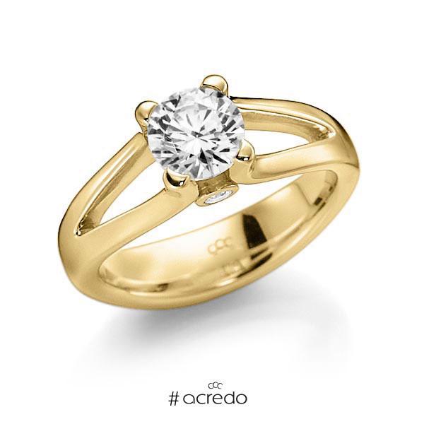 Verlobungsring in Gelbgold 585 mit 0,7 ct. beidseitiger seitlicher Brillantbesatz 2x 0,030ct Brillant tw, vs tw, si von acredo