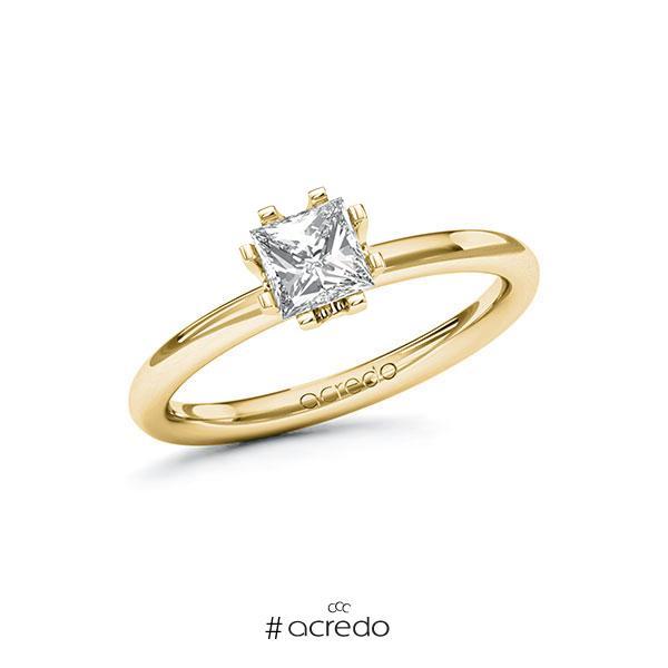 Verlobungsring in Gelbgold 585 mit 0,7 ct. Prinzess-Diamant tw, vs von acredo