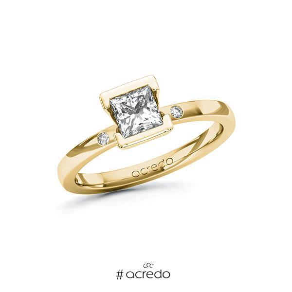 Verlobungsring in Gelbgold 585 mit 0,7 ct. + zus. 0,02 ct. Prinzess-Diamant tw, vs tw, si von acredo