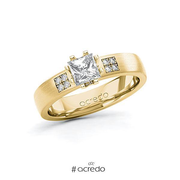 Verlobungsring in Gelbgold 585 mit 0,7 ct. + zus. 0,064 ct. Prinzess-Diamant tw, vs tw, si von acredo