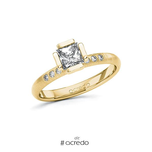 Verlobungsring in Gelbgold 585 mit 0,7 ct. + zus. 0,06 ct. Prinzess-Diamant tw, vs tw, si von acredo