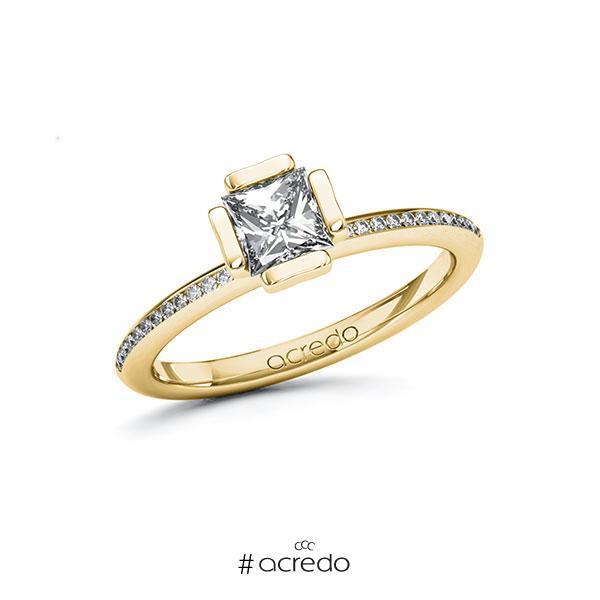 Verlobungsring in Gelbgold 585 mit 0,7 ct. + zus. 0,13 ct. Prinzess-Diamant tw, vs tw, si von acredo