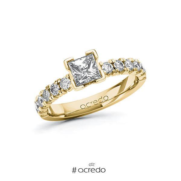 Verlobungsring in Gelbgold 585 mit 0,7 ct. + zus. 0,48 ct. Prinzess-Diamant tw, vs tw, si von acredo