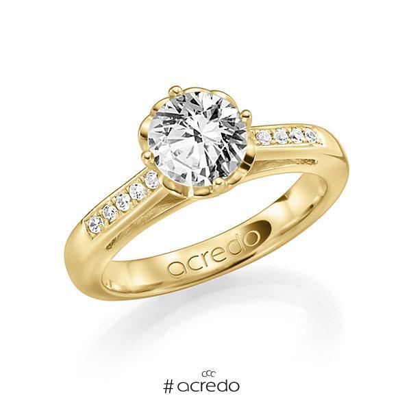 Verlobungsring in Gelbgold 585 mit 1 ct. 10 St. zusammen 0,08ct. Brillant w, si tw, si von acredo