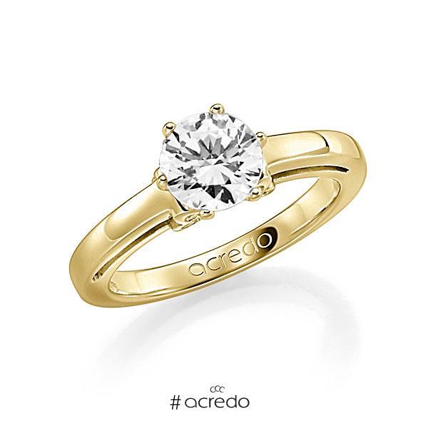 Verlobungsring in Gelbgold 585 mit 1 ct. 12 St. zusammen 0,06ct. Brillant w, si tw, si von acredo