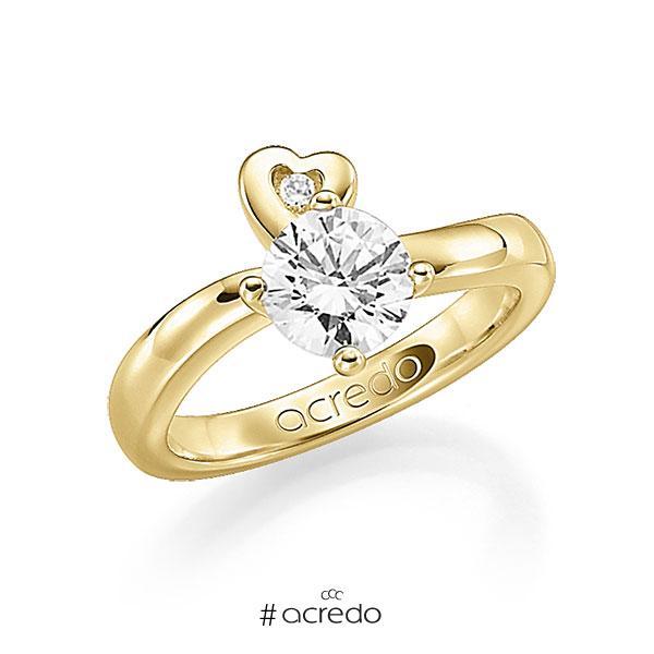 Verlobungsring in Gelbgold 585 mit 1 ct. 1 St. zusammen 0,03ct. Brillant w, si tw, si von acredo