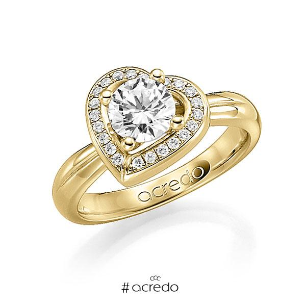 Verlobungsring in Gelbgold 585 mit 1 ct. 22 St. zusammen 0,18ct. Brillant w, si tw, si von acredo