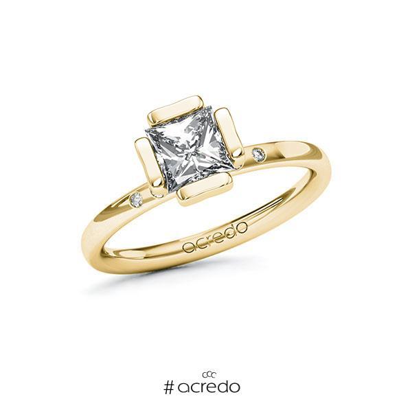 Verlobungsring in Gelbgold 585 mit 1 ct. + zus. 0,03 ct. Prinzess-Diamant tw, vs tw, si von acredo