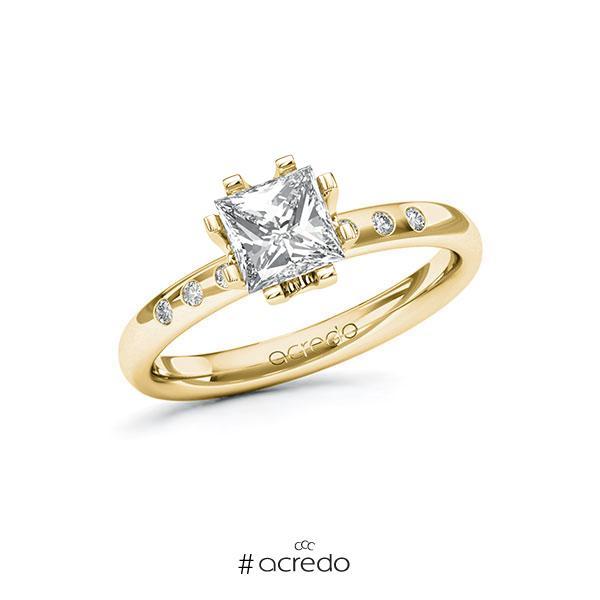 Verlobungsring in Gelbgold 585 mit 1 ct. + zus. 0,048 ct. Prinzess-Diamant tw, vs tw, si von acredo
