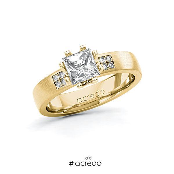 Verlobungsring in Gelbgold 585 mit 1 ct. + zus. 0,064 ct. Prinzess-Diamant tw, vs tw, si von acredo