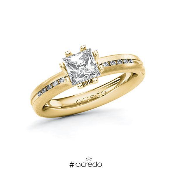 Verlobungsring in Gelbgold 585 mit 1 ct. + zus. 0,08 ct. Prinzess-Diamant tw, vs tw, si von acredo