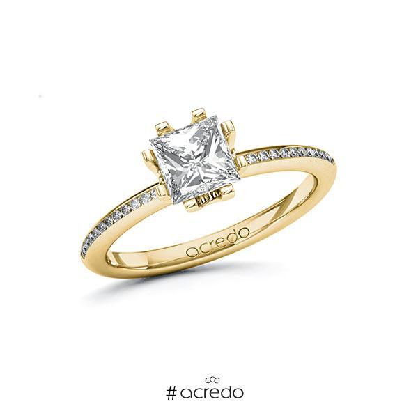 Verlobungsring in Gelbgold 585 mit 1 ct. + zus. 0,13 ct. Prinzess-Diamant tw, vs tw, si von acredo
