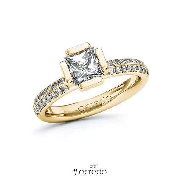 Verlobungsring in Gelbgold 585 mit 1 ct. + zus. 0,288 ct. Prinzess-Diamant tw, vs tw, si von acredo
