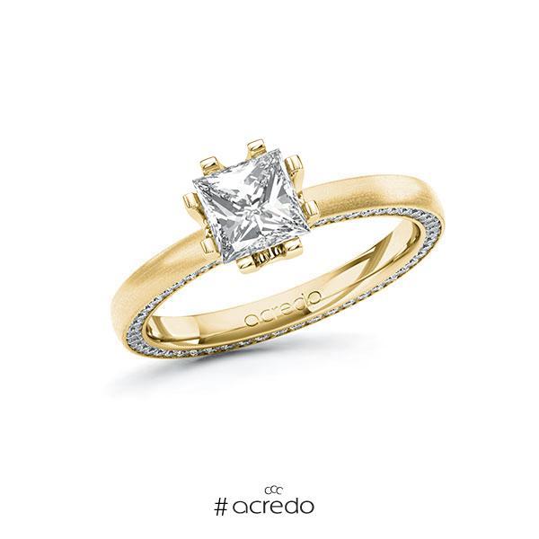 Verlobungsring in Gelbgold 585 mit 1 ct. + zus. 0,29 ct. Prinzess-Diamant tw, vs tw, si von acredo